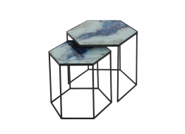 Cobalt Mist Hexagon Side Table
